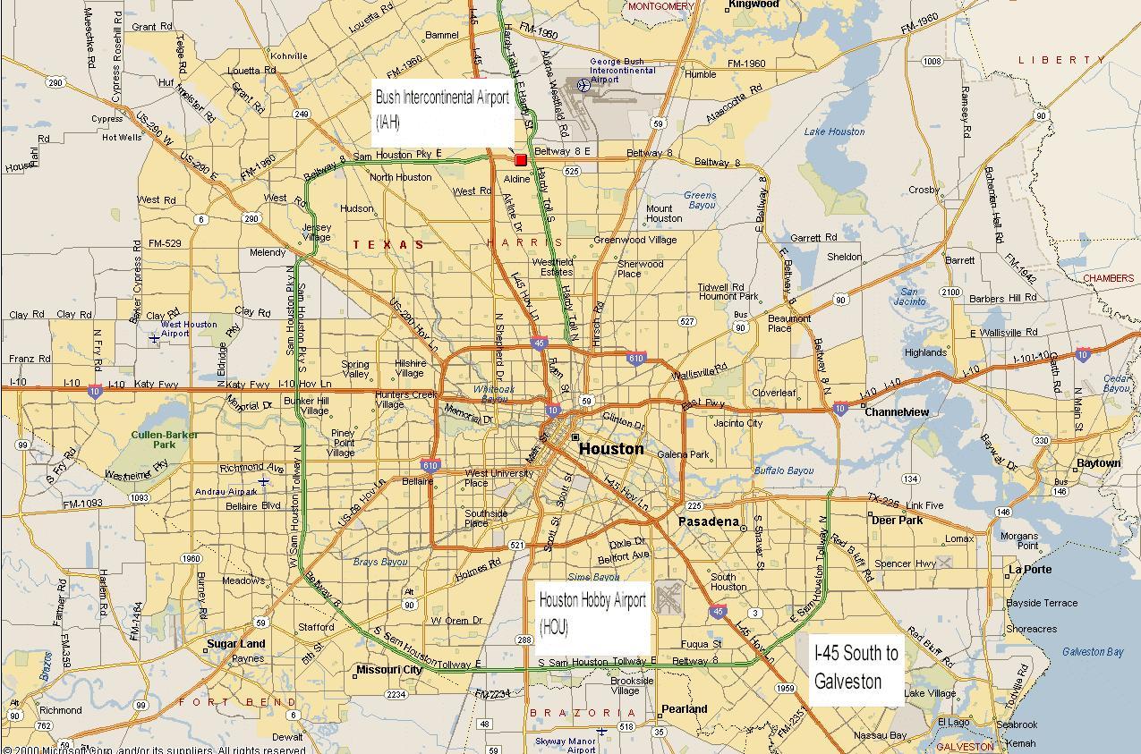 Houston metro mapa Mapa del rea metropolitana de Houston Texas