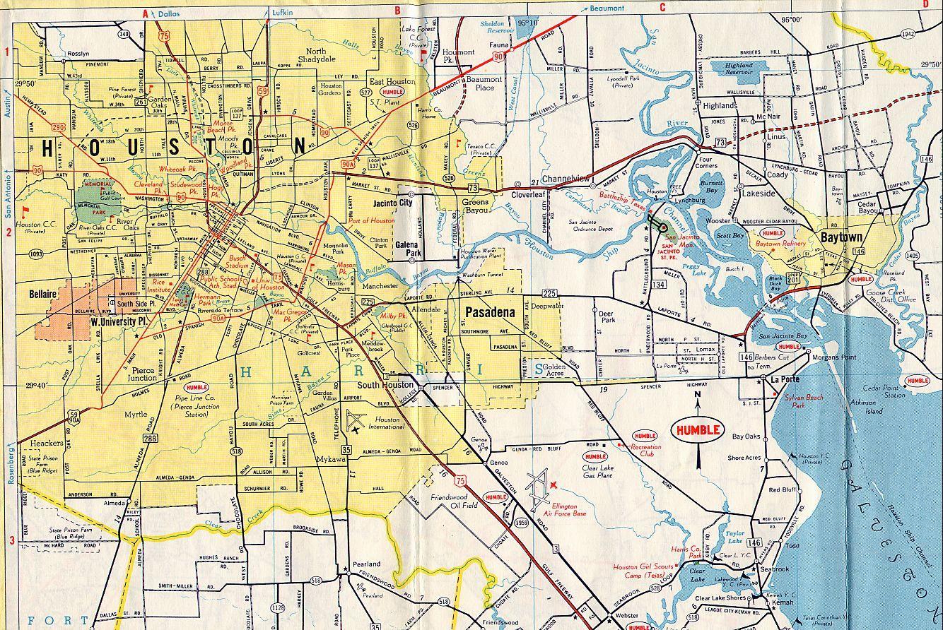 Mapa De Houston Houston En El Mapa Texas USA - Mapa de texas usa