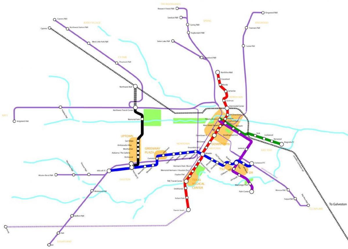 Houston metro rail mapa de Metro rail mapa de Houston Texas USA